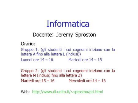 Docente: Jeremy Sproston