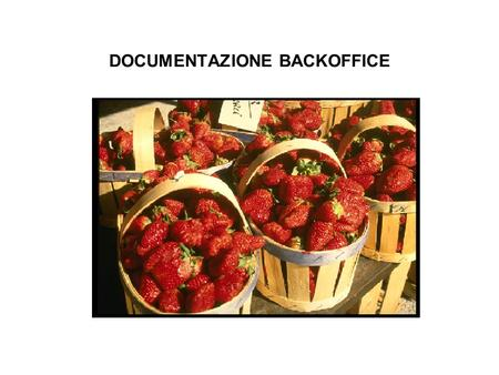 DOCUMENTAZIONE BACKOFFICE. DETTAGLIO SOFTWARE BACKOFFICE.