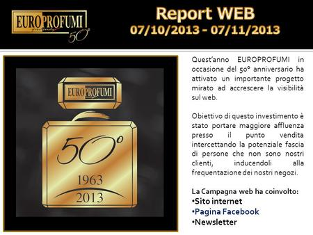 Report WEB 07/10/ /11/2013 Sito internet Pagina Facebook