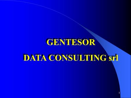 1 GENTESOR DATA CONSULTING srl GENTESOR DATA CONSULTING srl.