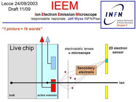 IEEM Ion Electron Emission Microscope Lecce 24/09/2003 Draft 11/09 responsabile nazionale: Jeff Wyss INFN/Pisa e e e Secondary electrons bulkactive volumes.