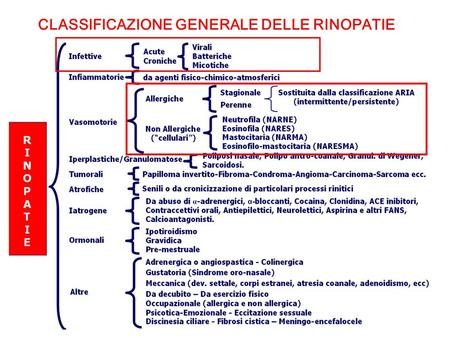 CLASSIFICAZIONE GENERALE DELLE RINOPATIE.  La rinite tipicamente precede la sinusite  Sinusite senza rinite è una rara evenienza.