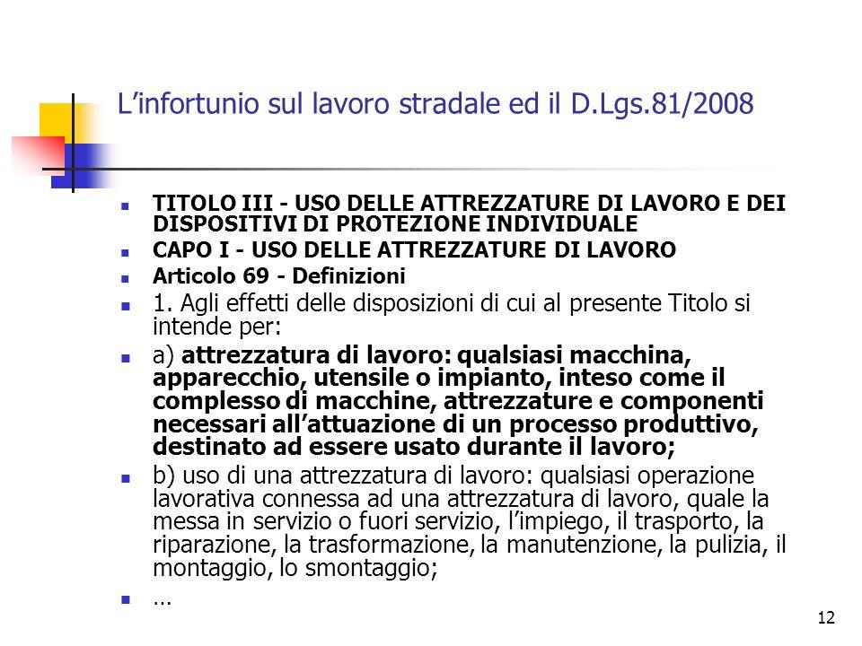 13 Linfortunio sul lavoro stradale ed il D.Lgs.81/2008 Articolo 71 - Obblighi del datore di lavoro 1.
