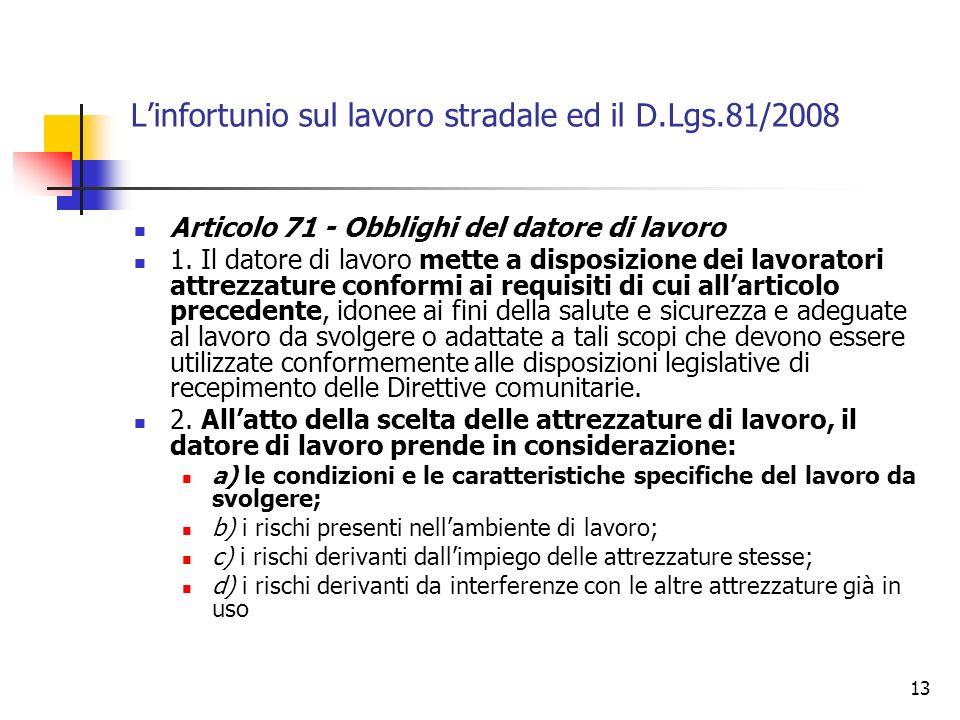 14 Linfortunio sul lavoro stradale ed il D.Lgs.81/2008 Articolo 71 - Obblighi del datore di lavoro 3… 4.