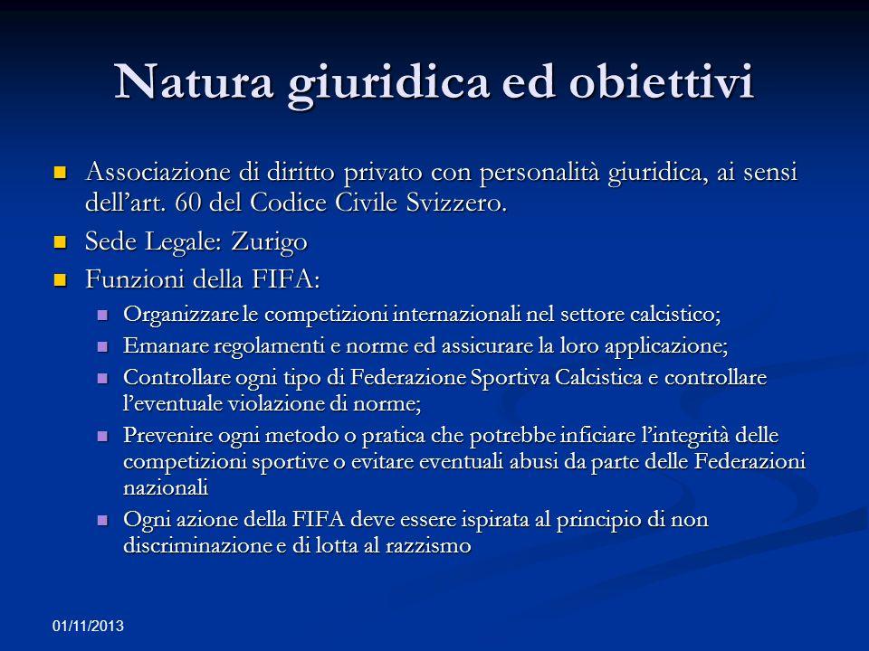 01/11/2013 Struttura della FIFA Congresso: organo supremo e legislativo.