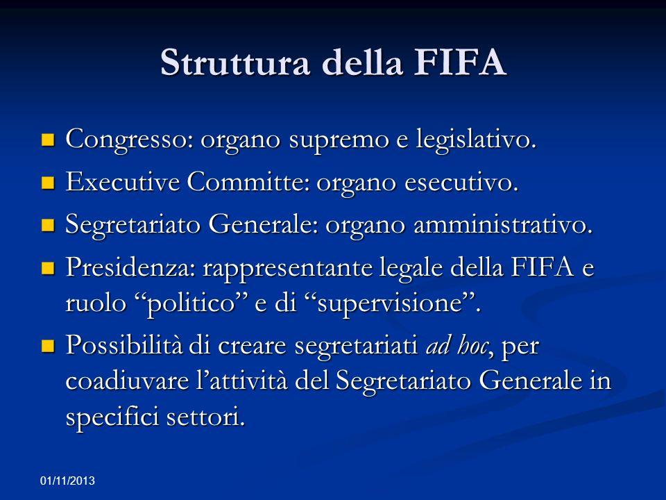 01/11/2013 Soggetti affiliati alla FIFA e disciplina specifica (1) La FIFA associa le Federazioni sportive nazionali (FNS) affiliate a loro volta ad Confederazione (ad esempio UEFA) per almeno 2 anni (e negli ultimi 2 anni dalla richiesta di ammissione).