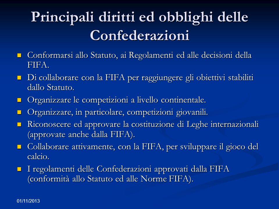 01/11/2013 Organi giurisdizionali previsti dallo Statuto FIFA (1) Disciplinary Committee: organo deputato ad irrogare sanzioni previste dallo Statuto (art.