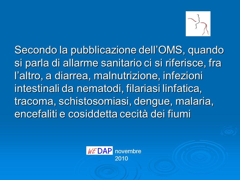novembre 2010 La tavola è pubblicata nel volume dellOrganizzazione Mondiale della Sanità WHO Safer Water, Better Health http://whqlibdoc.who.int/publications/2008/9 789241596435_eng.pdf http://whqlibdoc.who.int/publications/2008/9 789241596435_eng.pdf http://whqlibdoc.who.int/publications/2008/9 789241596435_eng.pdf