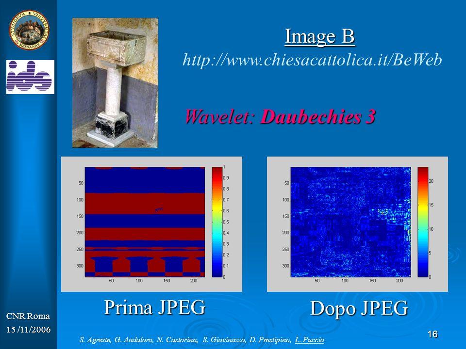 17 CNR Roma 15 /11/2006 Wavelet: Biorthogonal 1.3 http://www.chiesacattolica.it/BeWeb Image C Prima JPEG Dopo JPEG S.