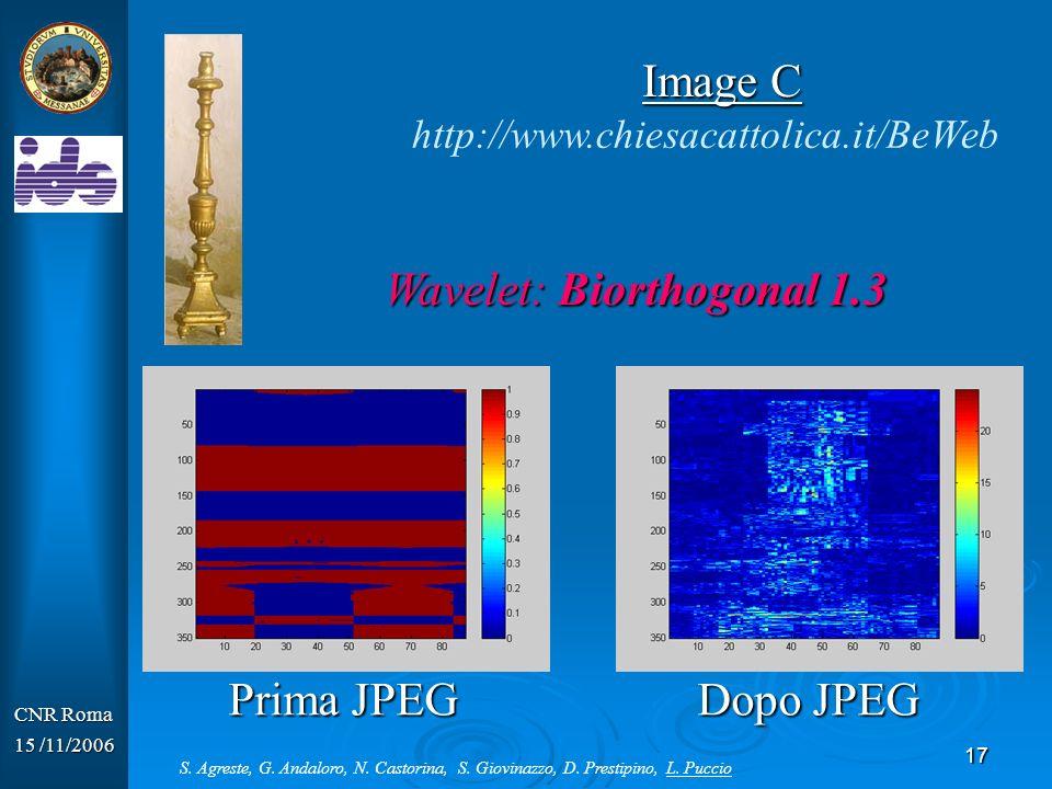 18 CNR Roma 15 /11/2006 Wavelet: Symlet 3 Prima JPEG Dopo JPEG http://www.chiesacattolica.it/BeWeb Image D S.