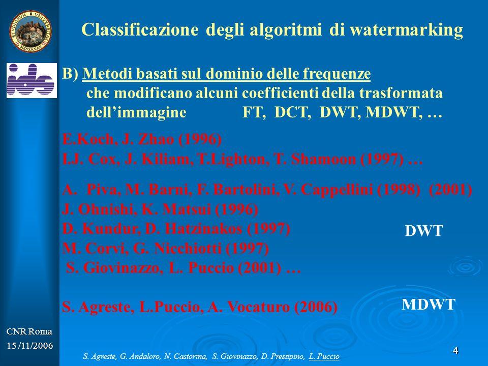 5 CNR Roma 15 /11/2006 Un algoritmo di watermarking ha2 fasi: Inserimento I (immagine originale) + W (watermark) = I w(immagine watermarkata) Immagine originale Immagine watermarkata S.