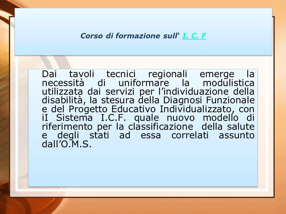02/11/2013 necessità quindi: definire un progetto formativo sull utilizzo dell I.C.F.