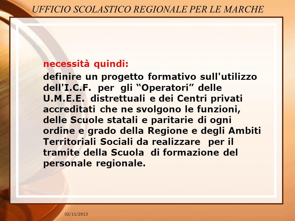 02/11/2013 Obiettivo da perseguire Utilizzare il modello per la diagnosi funzionale, secondo l I.