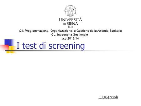 I test di screening C.Quercioli