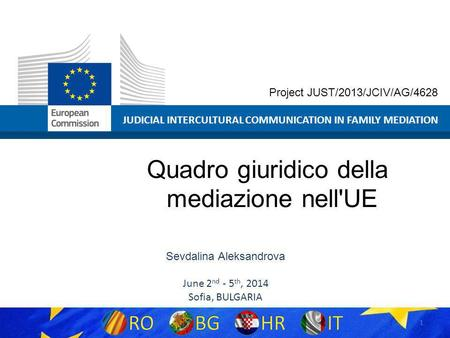 1 JUDICIAL INTERCULTURAL COMMUNICATION IN FAMILY MEDIATION Project JUST/2013/JCIV/AG/4628 Quadro giuridico della mediazione nell'UE Sevdalina Aleksandrova.