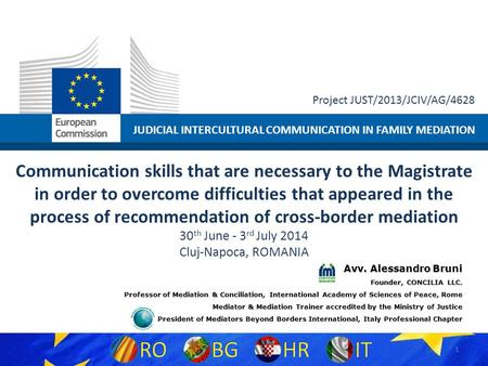 JUDICIAL INTERCULTURAL COMMUNICATION IN FAMILY MEDIATION Project JUST/2013/JCIV/AG/4628 Communication skills that are necessary to the Magistrate in order.