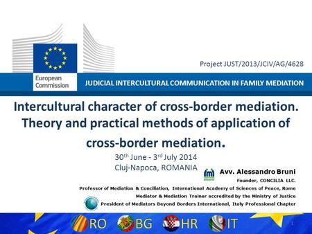JUDICIAL INTERCULTURAL COMMUNICATION IN FAMILY MEDIATION Project JUST/2013/JCIV/AG/4628 Intercultural character of cross-border mediation. Theory and practical.