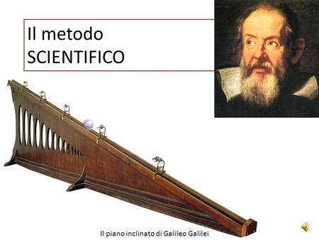 Il metodo SCIENTIFICO Il piano inclinato di Galileo Galilei.