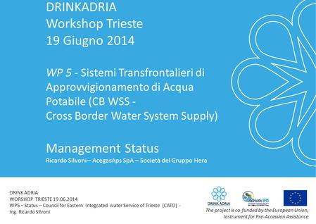 DRINKADRIA Workshop Trieste 19 Giugno 2014 WP 5 - Sistemi Transfrontalieri di Approvvigionamento di Acqua Potabile (CB WSS - Cross Border Water System.
