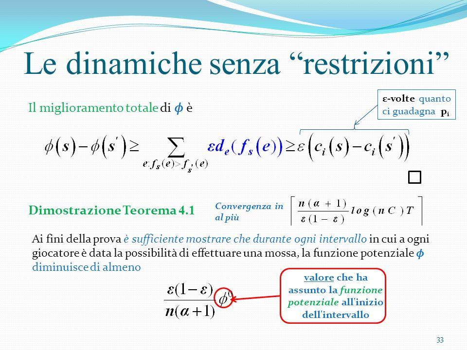Siano gli stati durante questo intervallo (non necessariamente differenti) Le dinamiche senza restrizioni Sia p h il giocatore con il maggior costo in s 0 Sia t 0 la prima volta in cui,durante lintervallo, al giocatore p h è data la possibilità di muoversi Avremo due casi: Caso(i): al tempo t, p h ha un ε-mossa a disposizione Caso(ii): al tempo t, p h non ha un ε-mossa a disposizione 34