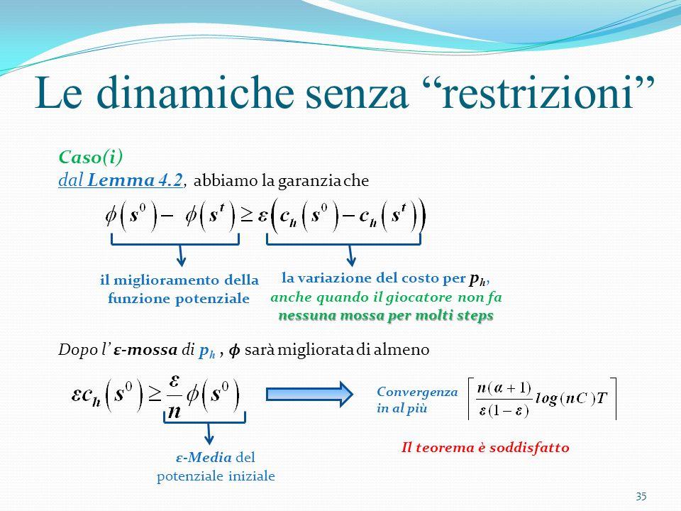 Le dinamiche senza restrizioni Caso(ii) Non avendo un ε-mossa a disposizione non vogliamo che p h possa fare un ε-mossa adottando semplicemente la strategia di un altro giocatore, p i Al momento t, dobbiamo avere Costo di p h per simulare la mossa di p i Utilità di p h per simulare la mossa di p i 36