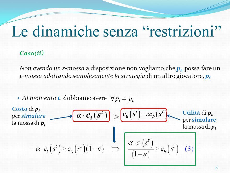 Le dinamiche senza restrizioni ( 1° caso) Consideriamo un giocatore p i, a cui è data la possibilità di fare la sua mossa al tempo t > t ossia, dopo che a p h è stata data la possibilità di muoversi ( 2° caso) Consideriamo lultimo giocatore, p i,a cui è data la possibilità di fare la sua mossa al tempo t < t Analizzeremo due casi: 37