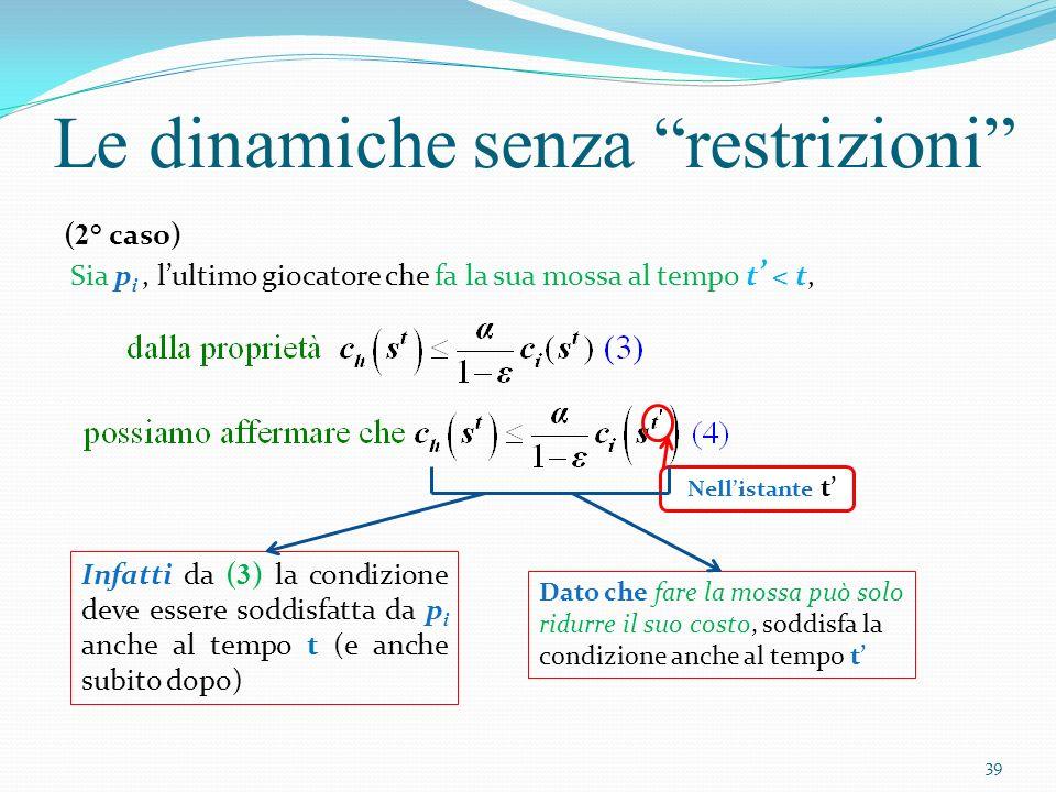 Allora la variazione di potenziale Le dinamiche senza restrizioni Deriva dalla condizione massimo miglioramento ottenuto da p i per la sua mossa Deriva dal LEMMA 4.2 40