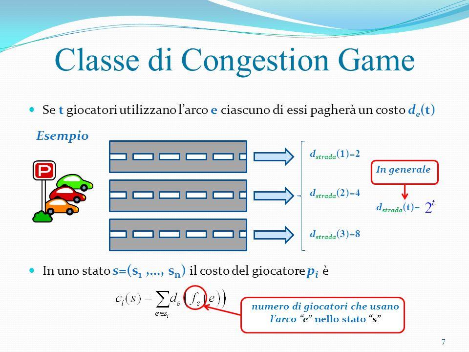 Funzione potenziale: i giochi a congestione sono in possesso una precisa funzione potenziale definita come proprietà: il cambiamento in rispecchia esattamente la variazione dei costi del giocatore Per ogni arco Funzioni Potenziali Sommiamo i costi sostenuti in base ai giocatori che lo utilizzano Variazione del potenziale se il giocatore p i cambia la sua strategia da s i a s i Variazione del costo per p i = 8