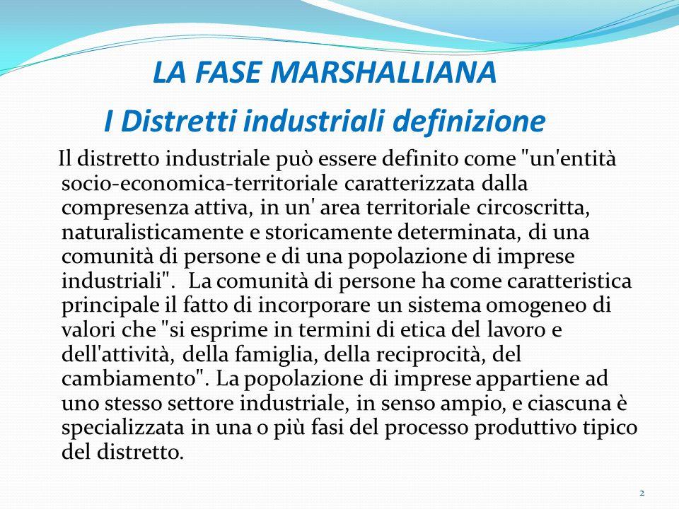 IDENTIFICAZIONE DEI DISTRETTI Lidentificazione dei distretti industriali si deve alleconomista Alfred Marshall (1842- 1924) che coniò il concetto di distretto industriale osservando alcune realtà presenti in Gran Bretagna.