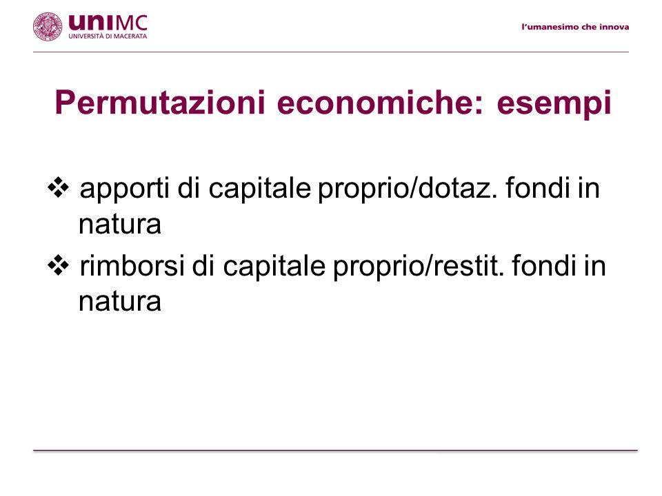 Da osservare Le permutazioni economiche sono atipiche nellambito della rilevazione delle operazioni di gestione.