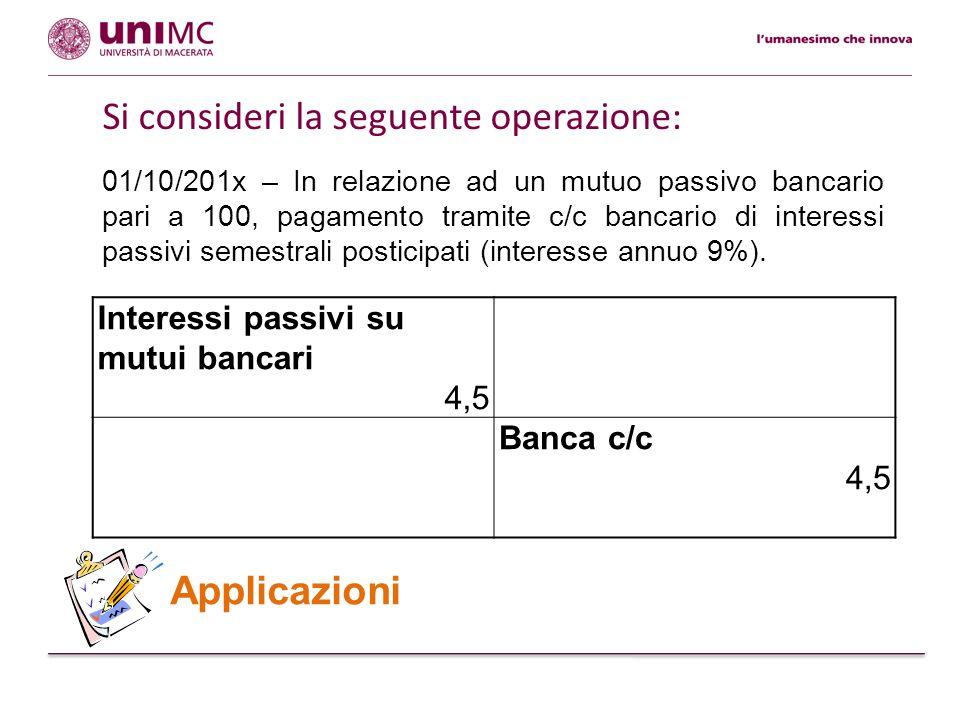 31/12/201x - Rilevazione del rateo passivo relativo agli interessi passivi su mutuo.