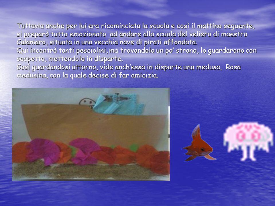 I mesi passavano e i due nuovi amici, Triglietto e Rosa medusina andavano sempre a scuola insieme, finchè un giorno maestro Calamaro annunciò a tutti i pesciolini che li avrebbe portati in gita a visitare la barriera corallina.