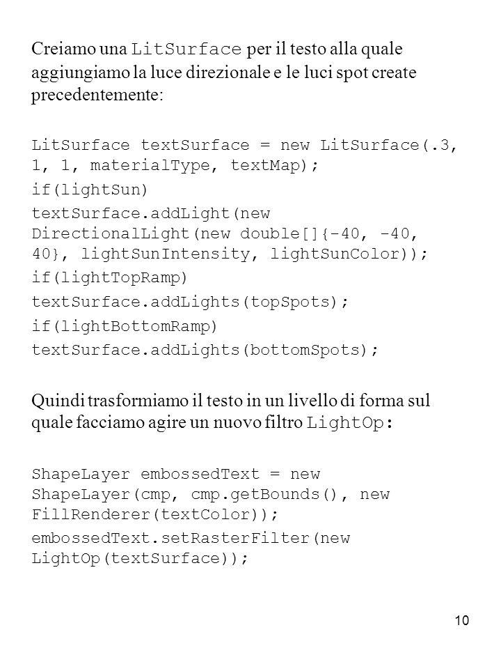 11 Per far agire il filtro solo sul livello di testo dobbiamo usare l oggetto shape per creare una maschera ed eseguire un ritaglio ( clipping ).