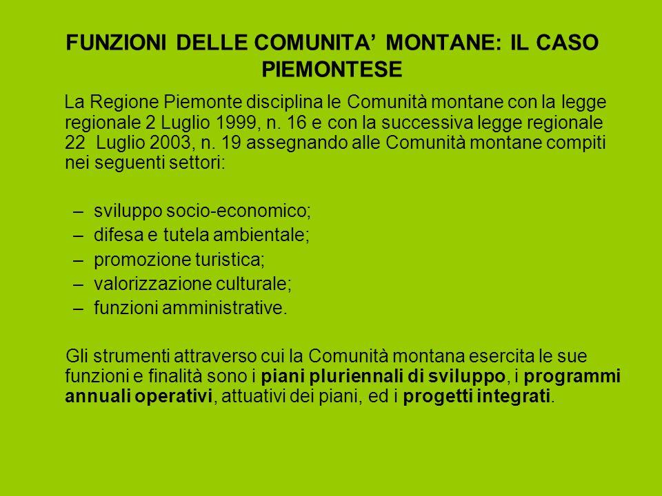 STRUTTURA DELLE COMUNITA MONTANE PIEMONTESI Le Comunità montane piemontesi sono 48, raggruppano 558 Comuni, per una superficie totale di 1.396.507ha.