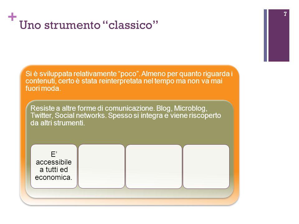 + Uno strumento classico 8 Si è sviluppata relativamente poco.
