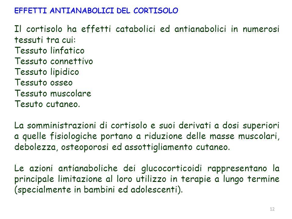 13 IMPIEGO TERAPEUTICO DEL CORTISOLO A dosi alte i cortisolo ha effetti antinfiammatori ed immunosoppressivi che sono essere sfruttati in terapia.
