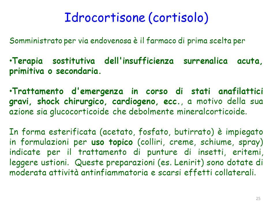 Cortisone È il precursore naturale (inattivo) del cortisolo ed allo stesso tempo metabolita (cortisone e cortisolo sono metabolicamente interconvertibili).