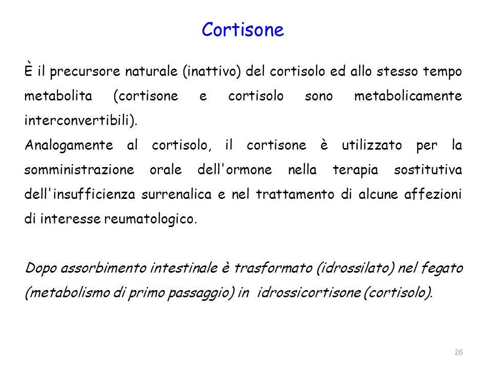 Prednisone (Deltacortene), prednisolone (soludacortin), metilprednisolone (Medrol, Solumedrol, Urbason, Asmacortone) Prednisone e prednisolone sono analoghi rispettivamente del cortisone e dell idrocortisone.
