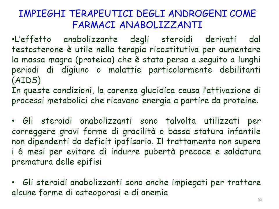 56 FORMULAZIONE FARMACEUTICA DEGLI ANDROGENI ANABOLIZZANTI Il testosterone, assunto per via orale è praticamente inefficace perché è rapidamente inattivato dal fegato.