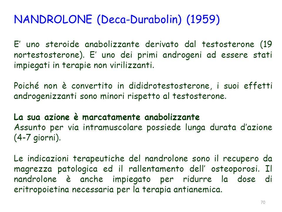71 NANDROLONE Il nandrolone ha bassa affinità per le aromatasi ed è scarsamente trasformato in estradiolo (il suo impiego non provoca ginecomastia).