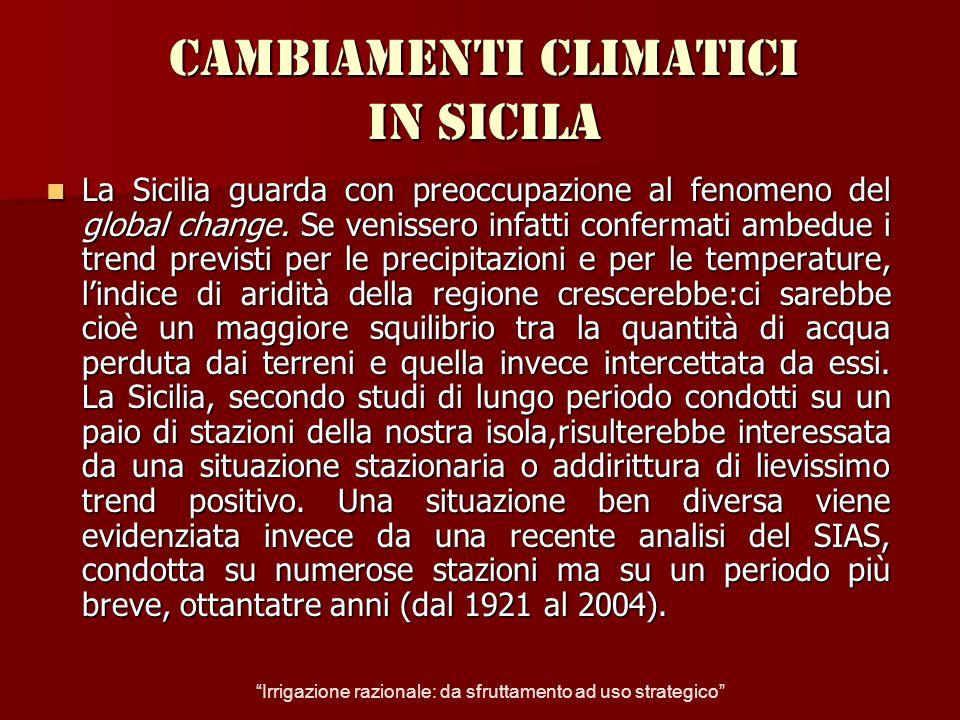 Precipitazioni in Sicilia per trentennio Precipitazioni in Sicilia per trentennio Irrigazione razionale: da sfruttamento ad uso strategico
