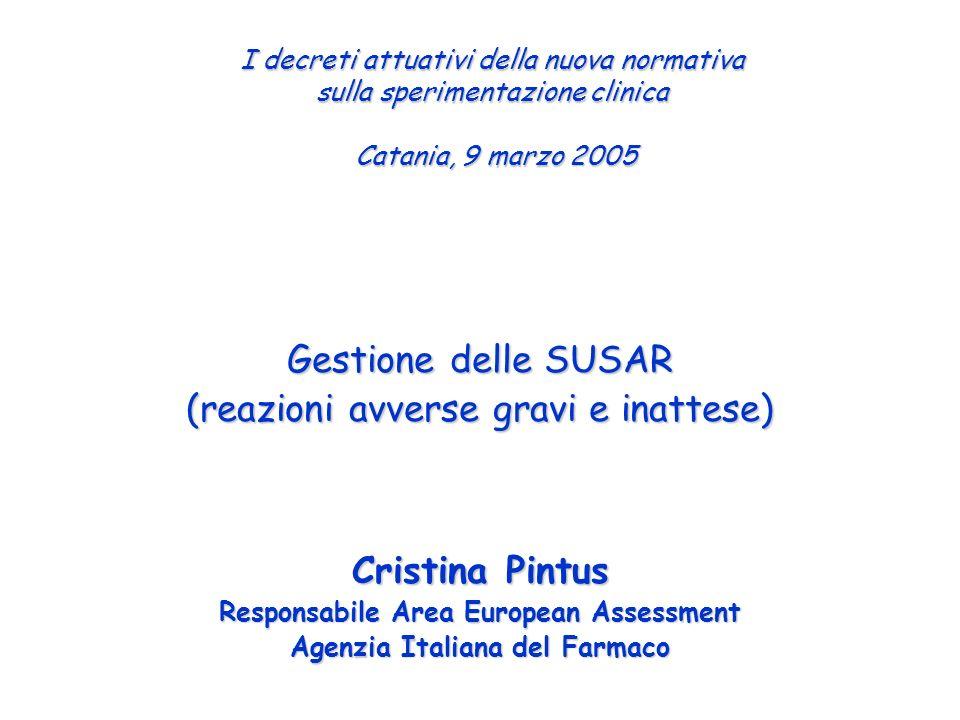 Evento Avverso grave Sperimentatore in Italia Sperimentatoriinteressati Gestione delle SUSAR Promotore Comitati Etici AIFA – OsSC Database Nazionale SUSAR Eudravigilance CTPM Rete Naz.