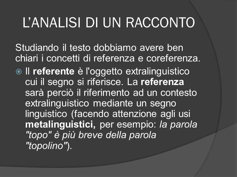 LANALISI DI UN RACCONTO Si chiama coreferenza il riferimento (che si può attuare con vari mezzi linguistici) allo stesso referente.