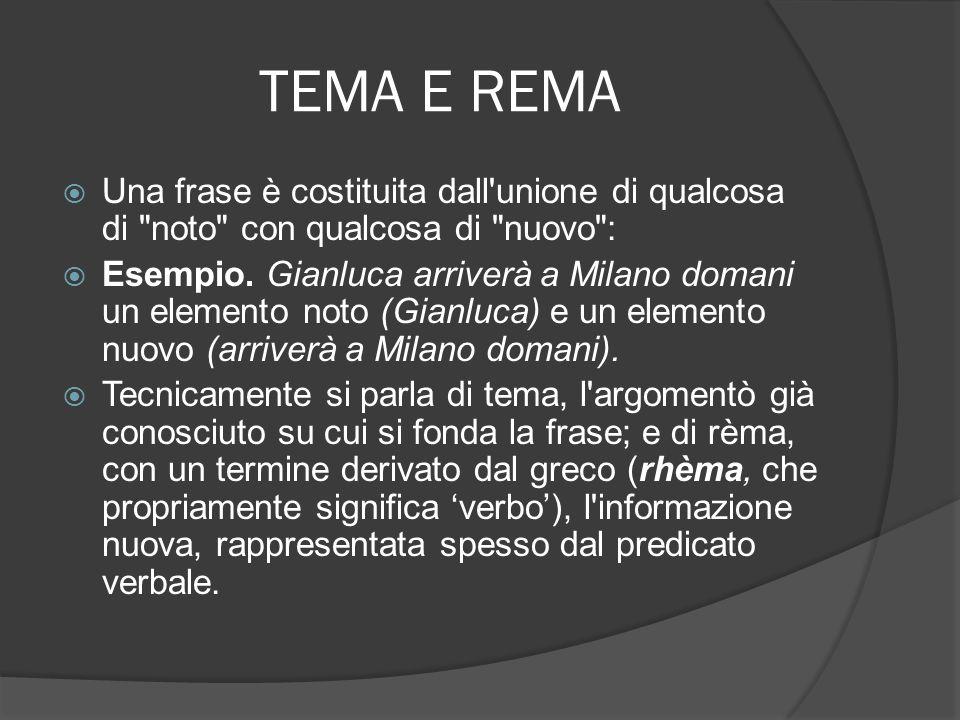 TEMA E REMA In realtà il limite tra ciò che è noto fin dall inizio (tema) e ciò che non è ancora noto, ma lo diventa durante l atto comunicativo (rèma) varia secondo l intenzione di chi parla e la conoscenza di chi ascolta.