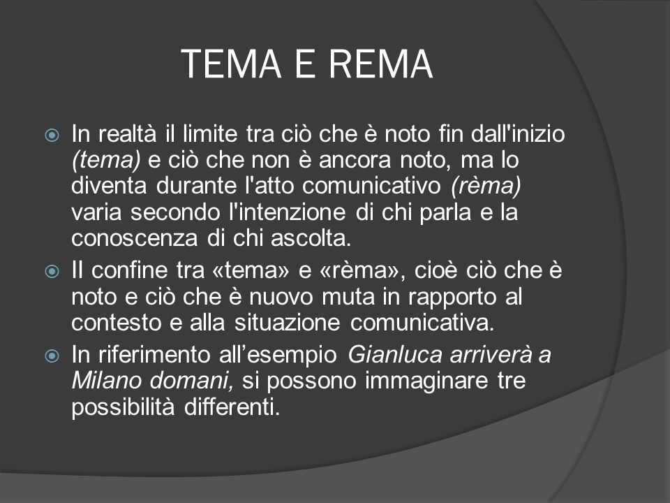 TEMA E REMA Possibilità 1 tema: Gianluca rèma: arriverà a Milano domani Possibilità 2 tema: Gianluca arriverà rèma: a Milano domani Possibilità 3 tema: Gianluca arriverà a Milano rèma: domani