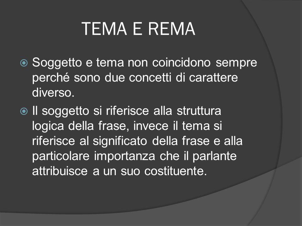 TEMA E REMA Analizzando un testo costituito da una sequenza di frasi, si può notare che la struttura tema-rèma di ogni singola frase è collegata alla struttura delle altre frasi.