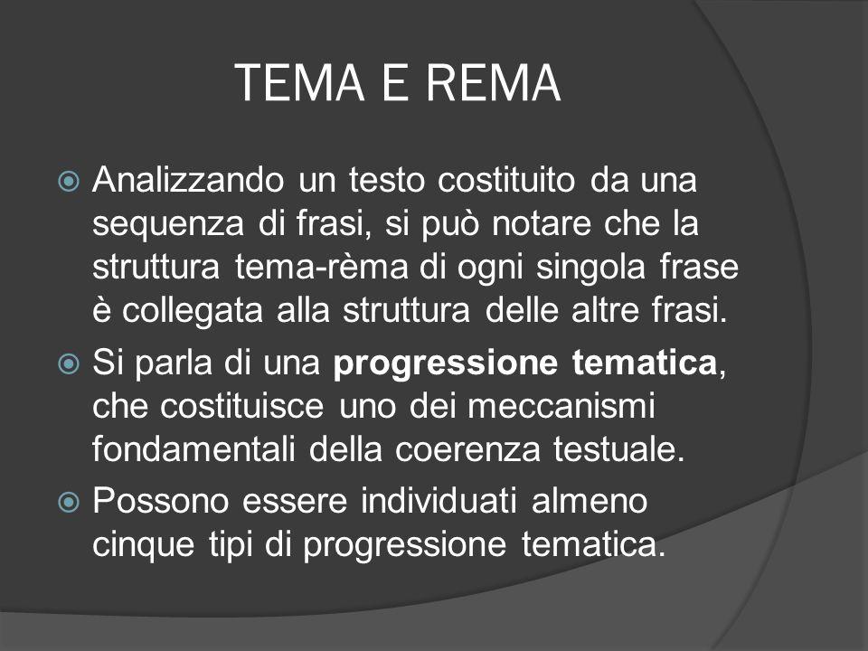 TEMA E REMA tematizzazione lineare (il rèma di una frase rimane nella seguente): danni abita in una grande casa.