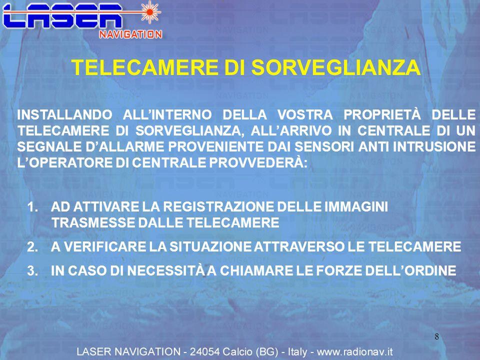 9 TELECAMERE DI SORVEGLIANZA 3.LOPERATORE AVVIA LA REGISTRAZIONE E VERIFICA LA SITUAZIONE 1.