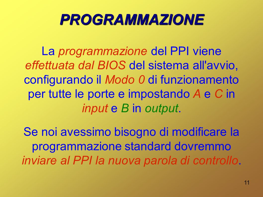 12 COME SI FA? In Assembly: OUT 63h,ParolaDiControllo In C++: outportb(0x63,ParolaDiControllo);