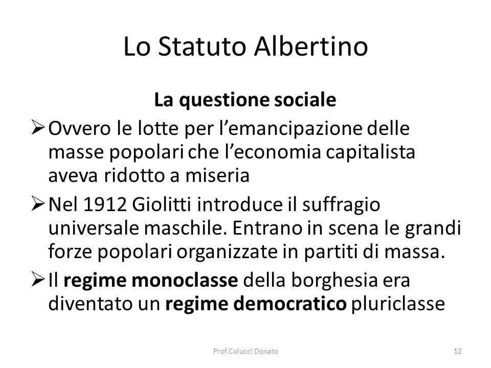 Lo Statuto Albertino La crisi dello Stato liberale Limpotenza del Parlamento di fronte alla questione sociale.